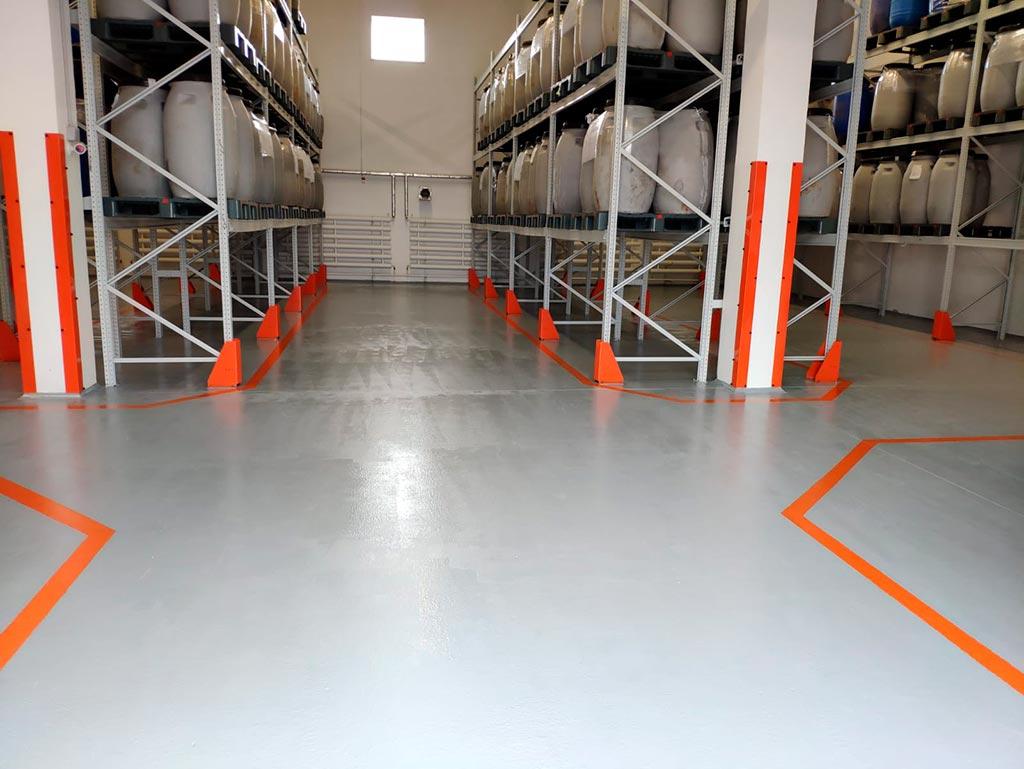 Ремонт пола складского помещения полиуретановыми составами Полилайн